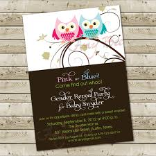 baby shower gender reveal invitation owl theme