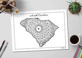 south carolina state map coloring page printable