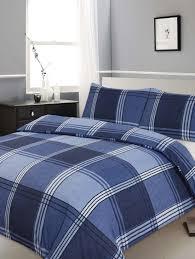 modern king size hamilton check printed blue duvet cover bedding