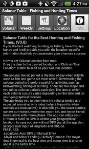 best hunting and fishing times solunar table calendar amazon com solunar table fishing hunting times appstore for
