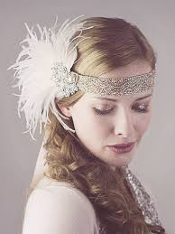 flapper headbands and ostrich feather flapper headband silver and