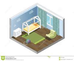 vector isometric nursery kids room set of nursery children s