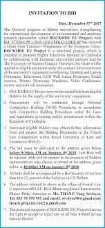 to bid closed invitation to bid dockside