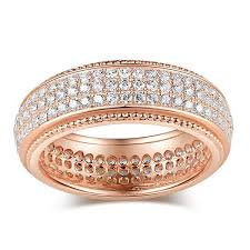 Sterling Silver Wedding Rings by Jeulia Rose Gold Tone Pave Women U0027s Wedding Band 1 15ct Tw Jeulia