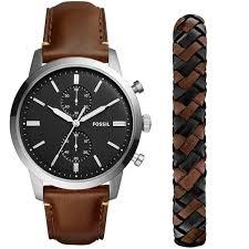 bracelet homme montre images Montre fossil en cuir marron montre homme avec cleor fs5394set jpg