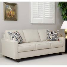 modern light brown leather love seat with tufted back and short