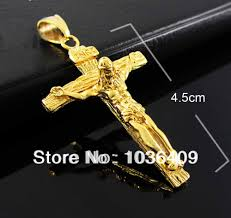 cross with jesus necklace images Men 39 s gold color jesus cross pendant necklace chain in pendant jpg