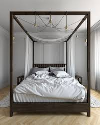 Four Post Canopy Bed Frame Amazing Contemporary Bedroom Wood Bed Frame Features White