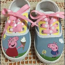 peppa pig customized hand painted shoes nwt hand painted shoes