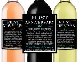 Anniversary Wine Bottles Marriage Firsts Milestones Poems Wedding Gift Wine By Lushlabel