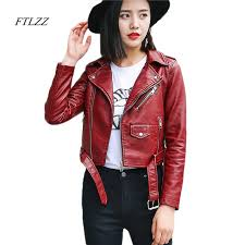 Aliexpress Com Buy Ftlzz Pu Leather Jacket Women Fashion Bright