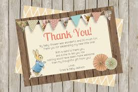 peter rabbit baby shower thank you card 4x6