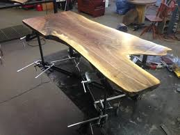 Airplane Wing Coffee Table by Handmade Live Edge Black Walnut Coffee Table By Iron Boar Metal