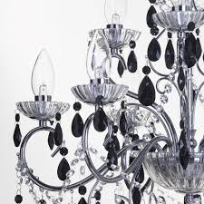 vara 9 light chrome bathroom chandelier w black crystals