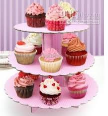3 tier cupcake stand 3 tier thick paper cake stand cupcake stand pink and blue dots