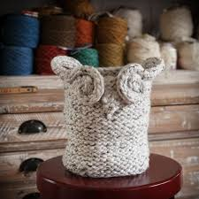 loom knit owl basket pattern yarn basket catch all basket