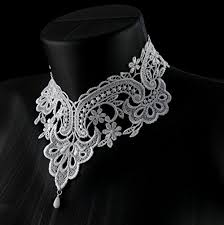 white lace choker necklace images Arthlin jewelry white lace choker necklace with glass teardrop jpg