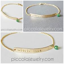 gold baby name bracelets thin gold horizontal bar name and birthstone bracelet