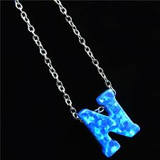 blue stainless steel necklace images 21656 blue fire opal pendant alphabet n letter necklaces name jpg