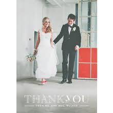 chic and modern wedding thank you photo cards by minkcards