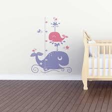 toise chambre bébé sticker mural toise baleines roses motif bébé fille pour