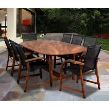 gables 9 piece wood sling extendable oval patio dining furniture