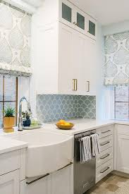backsplash tile for white kitchen white kitchen with blue fish scale backsplash tiles contemporary