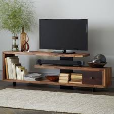Floating Shelves Entertainment Center by Staggered Wood Console Consoles Woods And Tv Cabinets