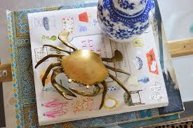Dash Of Darling Home Tour by Life With A Dash Of Whimsy Vintage Crush Brass Crab Trinket Box