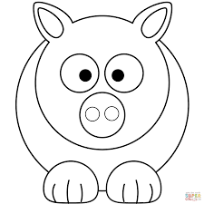 simple cartoon pig coloring page free printable coloring pages