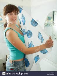 Curtain In Bathroom Young Woman With Shower Curtain In Bathroom Stock Photo Royalty