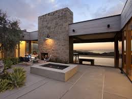 eye catcher patio landscape with modern outdoor fireplace