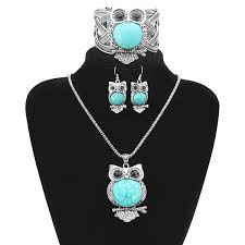 turquoise necklace earring set images Turquoise owl necklace earrings bracelet jewelry set vintage jpg