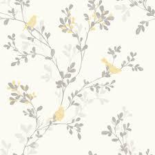 colours nadia soft lemon trees with birds mica wallpaper lemon
