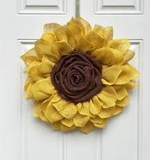 burlap sunflower wreath burlap sunflower wreath large shabby chic yellow sunflower