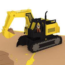 excavator pop up card lovepop