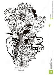 black and white drawing koi carp japanese tattoo style stock