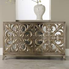 credenza table hamilton home m礬lange metallic fleur de lis mirrored credenza