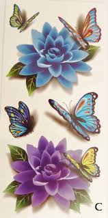 colorful 3d butterflies roses temporary tattoos tatting