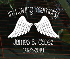 in loving memory items in loving memory car window decal with angel by jensvinyldecals