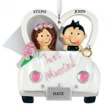 just married car personalized ornament and city