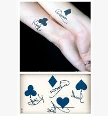 temporary tattoo sticker waterproof small king and queen of hearts