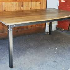 Wood Table With Metal Legs Dining Room Industrial Dining Table With Wood Countertop Edge And
