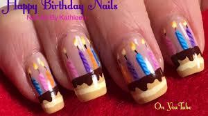 birthday nails diy freehand nail art birthday cake youtube