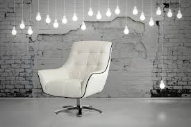 divani casa zinnia modern white and black eco leather lounge chair