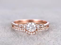 gold wedding rings sets 2pcs moissanite wedding ring set matching band gold