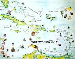 Map Caribbean Sea by Home Heather Belle Ink