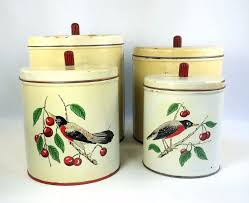 maid of honor 8 pc metal kitchen canister set robin and cherry mid
