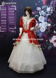 Halloween Prom Costumes Red White Lace Marie Antoinette Ball Gowns Women Halloween