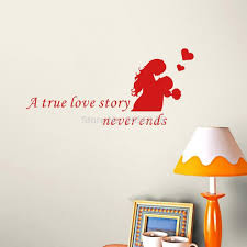 online get cheap quotes wall decal aliexpress com alibaba group love quote wall decals a true love story never ends lover vinyl wall sticker couple art